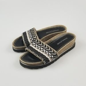 Donald j pliner Embroidered Slides Platform Open